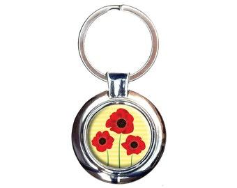 Red Poppies Flower Keychain Key Ring