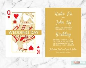 Prinatble Wedding Invitation Suite/ Royal Hearts Invitation/ Royal Wedding/ Queen of Hearts/ King of Hearts
