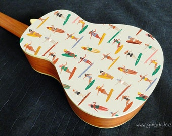 Vinyl sticker decal for ukulele of vintage surf ladies pattern