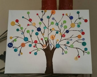 12x16 canvas button tree