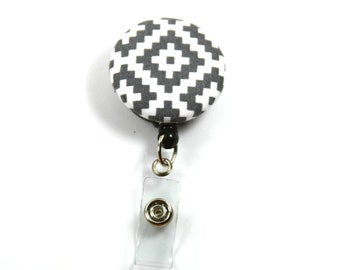 GRAY Brick Fabric Badge Reel, Retractable Badge Reel, Gray Button Badge Reel