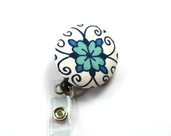 BLUE FLOWER Fabric Badge Holder, Retractable badge Reel, Flower Lanyard