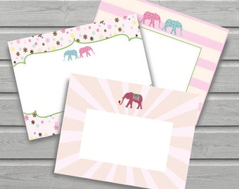Elephant Notecard // Lovely Notecards // Vintage // Stationery // Notecards // Thank You // 3 Different Designs // Instant Download // DIY