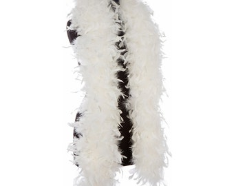 Off White - Ivory 65 Gram Chandelle Feather Boas - 6 Feet Long - Use as Trim or Wear as a Scarf - Halloween Party Favors - Decorations