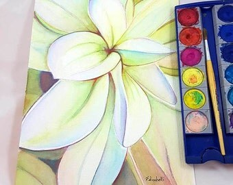 White dahlia flower painting, handmade watercolor, romantic and delicate gift idea, modern or traditional decore, relaxing home decoration.