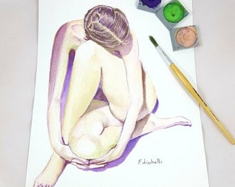 Nude watercolor, woman, original artwork by Francesca Licchelli, gift idea for art lovers, bedroom decor, boudoir, private room, for adults.