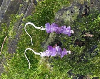 Amethyst chip earrings (silver)