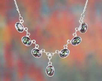 Mystic fire topaz necklace in sterling silver