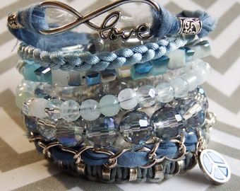 Blue tye dye ipanema inspired bracelet