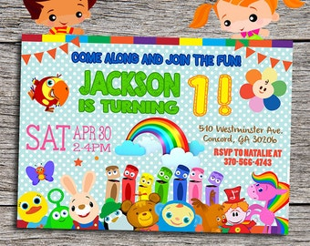 """Baby First TV Birthday Party Invitation - Digital Printable Personalized 7""""x5"""" Baby First TV Invitation - Baby First TV Inspired Invitation"""