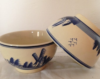 2 vintage French bowls, café au lait bowls, French breakfast bowls, blue and cream coffee bowls
