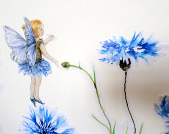 Fairy wall stickers, flower fairy wall decals, girly wall decals, blue fairy decals, fairy decals, fairy nursery art, cornflower decals