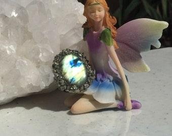 Glowing labradorite and pyrite ring