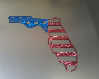 Florida State American flag metal art - painted