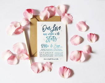 Our Love Was Written in the Stars | Starry Wedding Invitation / Save The Date