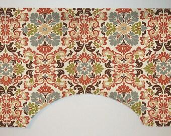 Waverly Folk Damask Custom Valance Curtain, Terracotta, Arched, Lined