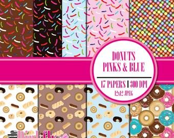 Donut Digital Paper, Doughnut Paper, Donut Scrapbooking, Pink Donut, Blue donut
