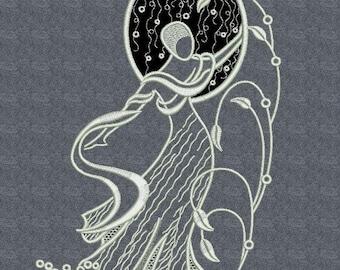 White Lady Appliqu Cutwork -  MACHINE EMBROIDERY DESIGN