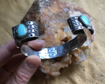 Tear Drop Turquoise Hand Stamped Cuff