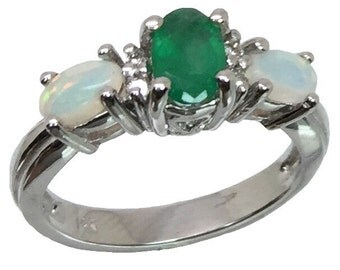 14k Emerald, Opal & Diamonds Ring, FREE SIZING