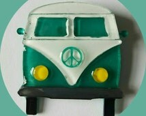 Hippie Camper Van Brooch Teal Vintage Inspired, Novelty brooch, Rockabilly, Pinup, Tiki, Jewelry, Acrylic, Resin, Plastic, Laser Cut, Pin VW
