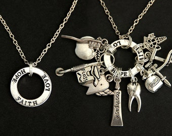 Affirmation Necklace. Build Your Own Charm Necklace with Affirmation Ring. Silver Plated Necklace. Custom Necklace.