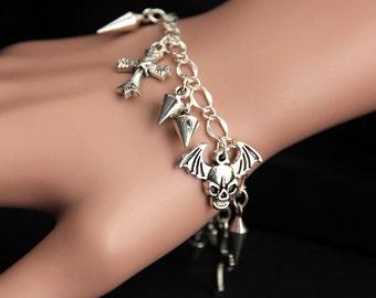 Punk Bracelet.  Punk Rock Charm Bracelet. Goth Bracelet. Rocker Bracelet. Silver Bracelet. Rock n Roll Jewelry. Handmade Jewelry.
