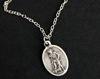 Saint Lazarus Necklace. Christian Necklace. St Lazarus Medal Necklace. Patron Saint Necklace. Catholic Jewelry. Religious Necklace.