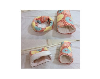 Safe Seam Orange , Yellow , Blue Floral Guinea Pig, Rat, Hedgehog Stay Open Snuggle Sack/Cuddle Cup 2 in 1, and Reinforced Tunnel Set