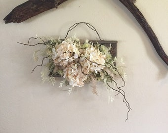 Weathered Wood and Silk Floral Wall Arrangement