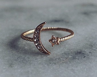 Open Moon Star Ring