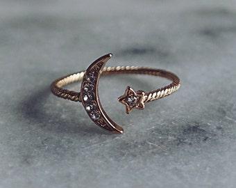 Open Moon Star Ring