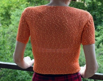 Handknit Orange Blouse With Short Sleeves Blouse With Short Sleeves Orange Blouse Handknit Blouse Handmade Blouse Viscose Type Boucle
