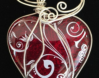 Sterling Silver Wire Wrapped Red Glass Fused/Kilnformed Heart Pendant w/Dichroic and Decal