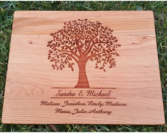 Engraved Cutting Board, Personalized Cutting Board, Family Tree Cutting Board, Personalized Gift, Anniversary Gift