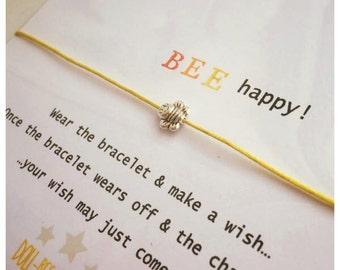 Wishing Bracelet 'Bee Happy' Wish Bracelet Gift
