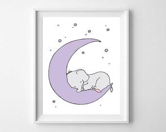 Elephant Nursery Art,Printable Nursery,Elephant Purple Nursery,Elephant Boys Nursery, Elephant Girls Nursery,Elephant Purple  Moon Decor
