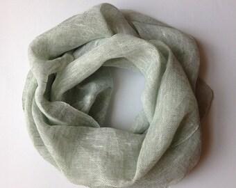 Handwoven Linen Infinity Scarf in Water Green color