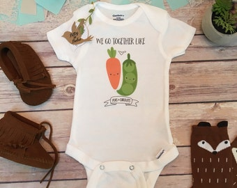 Peas and Carrots Onesie®, Funny Baby Onesies, Baby Boy Clothes, Baby Shower Gift, Hipster Baby, Cute Onesies,Forest Gump,We Go Together Like