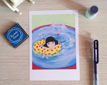 Girl Swimming in Fountain Postcard (A Print of an Original Painting)