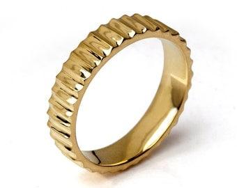SUNSHINE 14k Gold Wedding Band, Unique Wedding Band,  Men's Wedding Band, Alternative Wedding Band for Men  Women