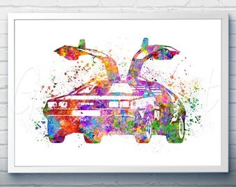 Back to the Future Delorean Watercolor Art Poster Print - Wall Decor - Watercolor Painting - Watercolor Art - Kids Decor- Nursery Decor