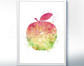 Apple Watercolor Art Print  - Fruit Watercolor Art Painting - Apple Poster - Kitchen Decor - Home Decor - House Warming Gift [4]