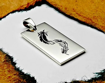 Personalized Gift, Yin Yang Feathers Necklace, Lovers Necklace, Hand Engraved, Personalized Sterling Silver Necklace, Engraving Service