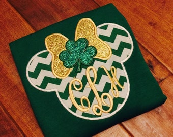 Minnie Mouse St Patrick's Day Shamrock Ears design embroidery file machine applique design Instant Download Applique Design Irish Mouse