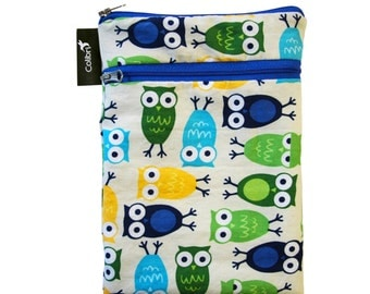 Ready to ship - Mini Wet Dry Bag with 2 zippers and PUL liner - Owls