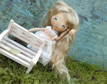 Cloth art doll interior doll Textile doll Сollecting doll Fabric doll Soft doll Rag doll Doll in white dress Doll blond OOAK doll Vintage