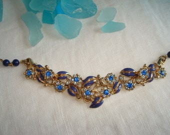 Vintage Children's Rhinestone, Hand Painted Blue Beads, and Gold Necklace