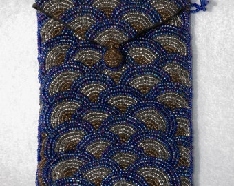 REDUCED!  Blue Silver and Gold, Iridescent beads in a small purse in Fishscale Pattern...FREE Shipping!