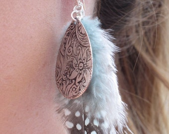 Blue/White Feather Earrings